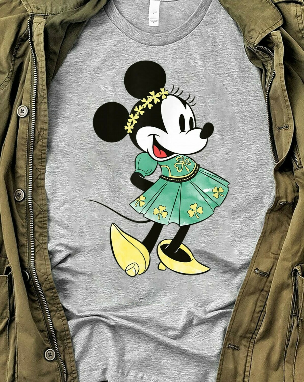 Green Leprechaun Minnie Mouse Head Shamrock St. Patrick's Day Luck of the Irish Disneyland  T-Shirt Hoodie Sweatshirt Sweater Tee Kids Youth Gifts Jolly Family Gifts