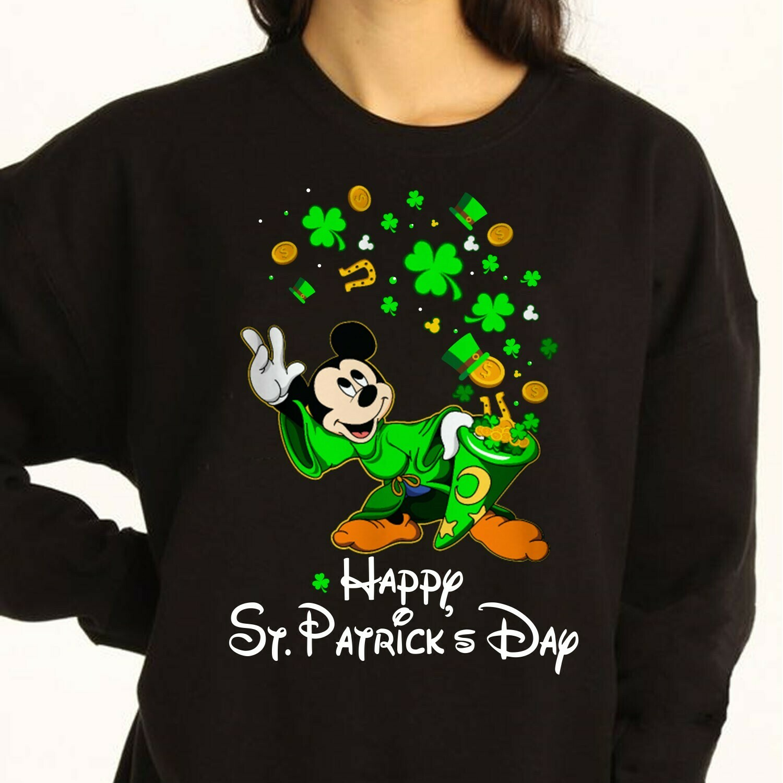 Green Leprechaun Mickey Mouse Shamrock Happy St. Patrick's Day Luck Charm of the Irish Disneyland  T-Shirt Hoodie Sweatshirt Sweater Tee Kids Youth Gifts Jolly Family Gifts