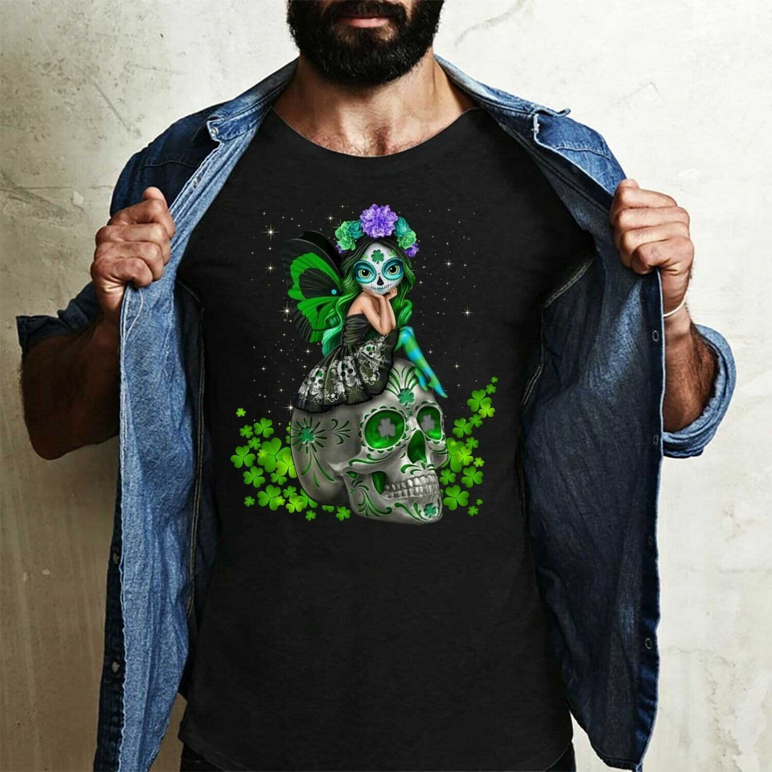 Sugar Skull Sitting Patrick,Day Of The Dead Fashion,Sugar Skull Flower Crown,Women's Saint Paddy's Patricks day outfit  T-Shirt Hoodie Sweatshirt Sweater Tee Kids Youth Gifts Jolly Family Gifts