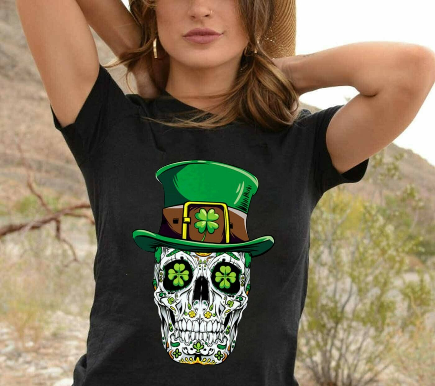 Happy St Patrick's Day Love Irish Sugar Skull,Day Of The Dead with Hat Four Leaf Clover Fashion Saint Paddy's day outfit  T-Shirt Hoodie Sweatshirt Sweater Tee Kids Youth Gifts Jolly Family Gifts