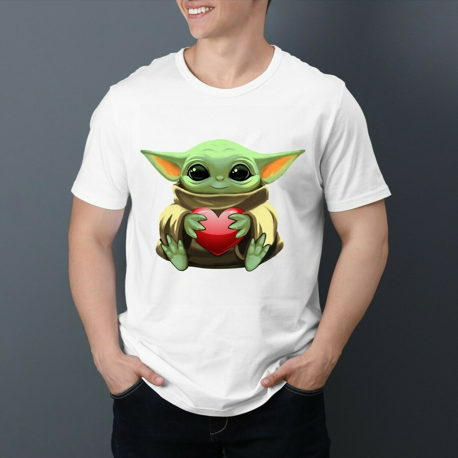 Baby Yoda The Mandalorian with death Star Wars Movie Yoda Hug Heart Valentines Gift for her him girlfriend T-Shirt Hoodie Sweatshirt Sweater Tee Kids Youth Gifts Jolly Family Gifts
