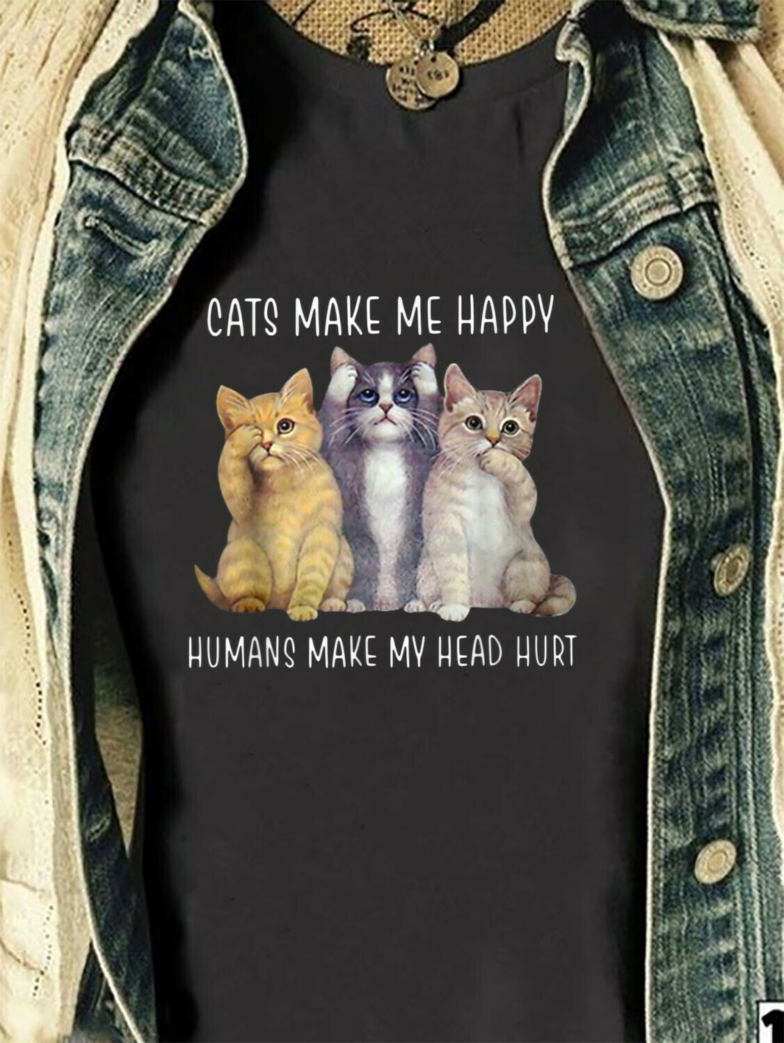 Cats Make Me Happy Humans Make My Head Hurt Gift for Cat Lovers T-Shirt Hoodie Sweatshirt Sweater Tee Kids Youth Gifts Jolly Family Gifts