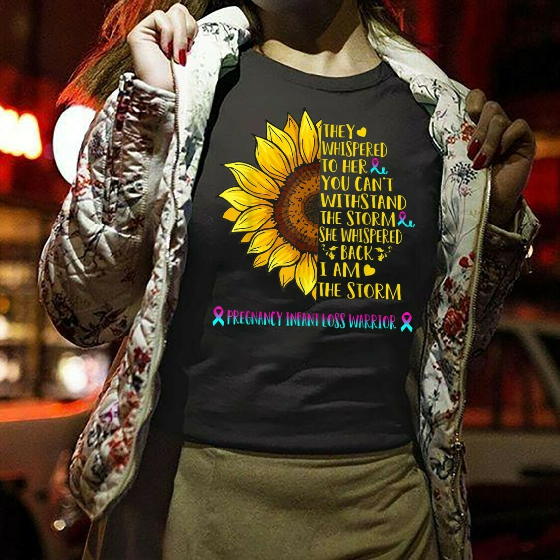 I Am The Storm Pregnancy Infant Loss Warrior Sunflower Whispered Withstand The Storm  T-Shirt Hoodie Sweatshirt Sweater Tee Kids Youth Gifts Jolly Family Gifts