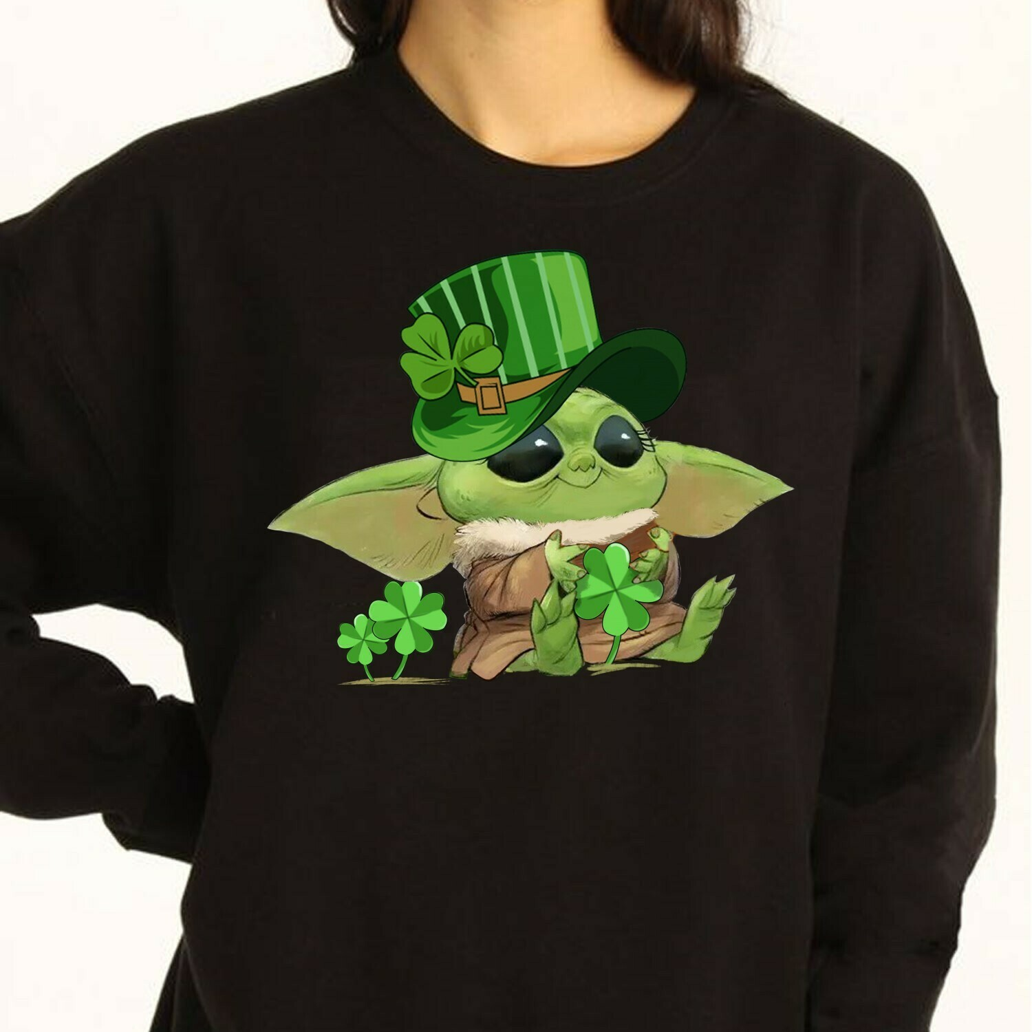 Baby Yoda Leprechauns hug Shamrock Peace Sign Flowery Heart St Patrick Day The Mandalorian with death Star Wars Movie  T-Shirt Hoodie Sweatshirt Sweater Tee Kids Youth Gifts Jolly Family Gifts
