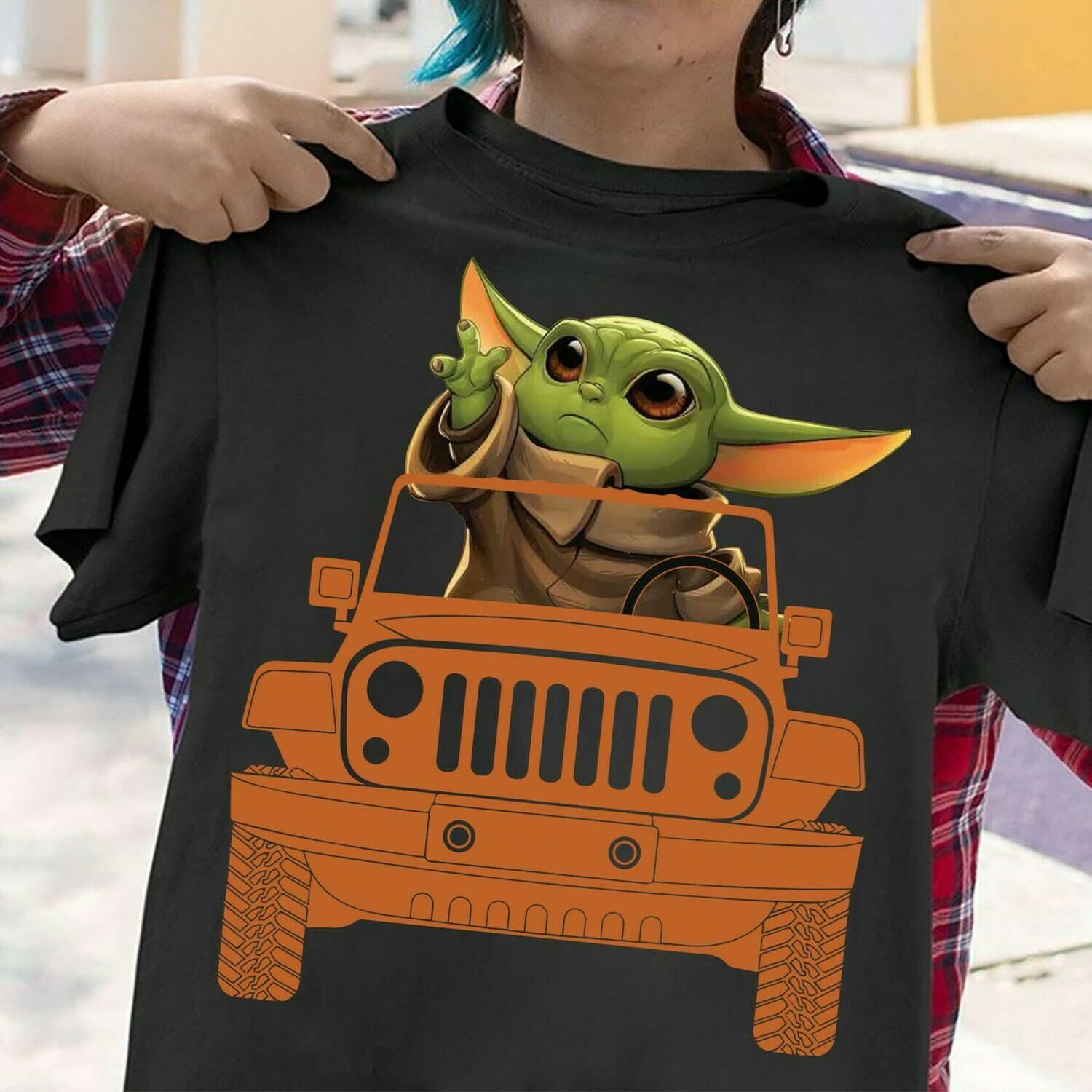 Baby Yoda Driving Jeep Car The Mandalorian with death Star Wars Movie The Rise of Skywalker Galaxy fan Gift  T-Shirt Hoodie Sweatshirt Sweater Tee Kids Youth Gifts Jolly Family Gifts