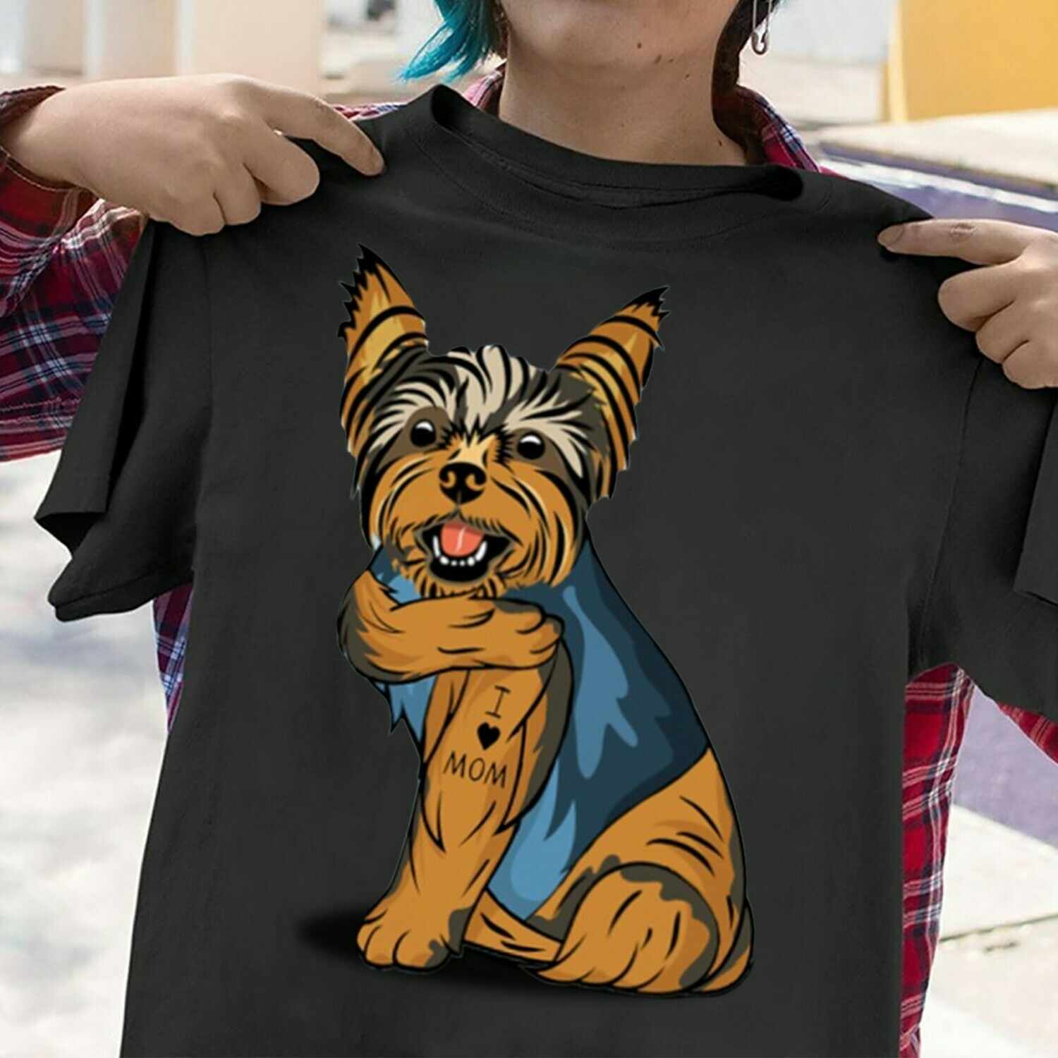 The Yorkshire terrier Breed Dog Black Tattoos I Love Mom sitting Thick Thighs  T-Shirt Hoodie Sweatshirt Sweater Tee Kids Youth Gifts Jolly Family Gifts