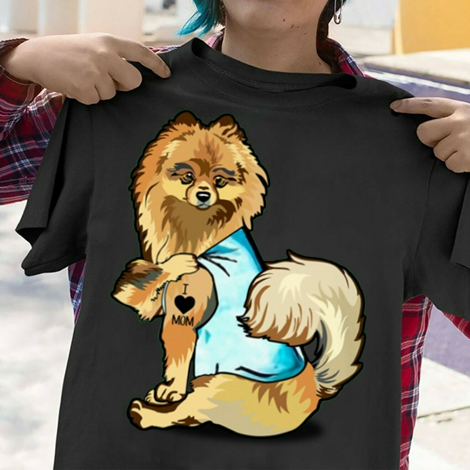 The pomeranian Breed Dog Black Tattoos I Love Mom sitting Thick Thighs  T-Shirt Hoodie Sweatshirt Sweater Tee Kids Youth Gifts Jolly Family Gifts