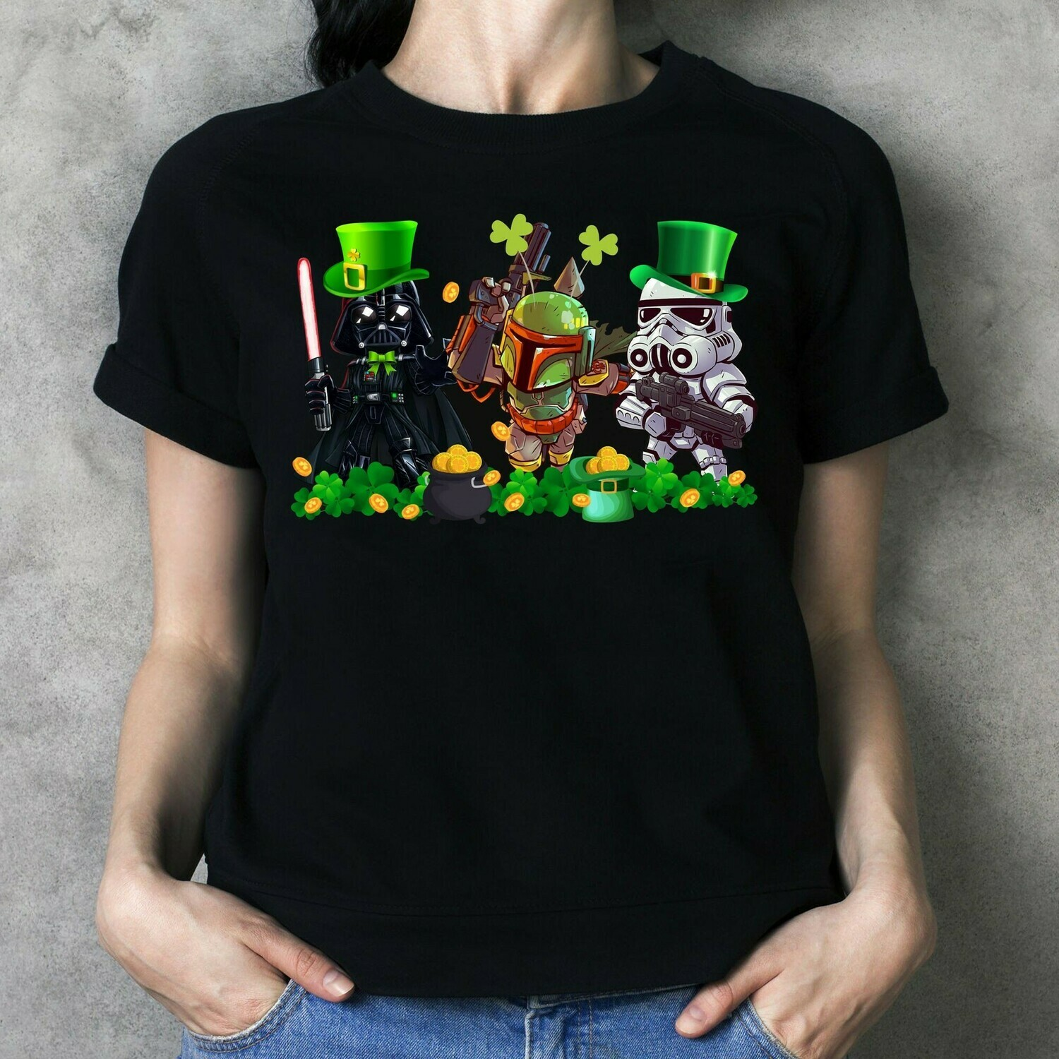 The Mandalorian with death Star Wars Chibi Jedi Squad Movie Film St. Patrick's Day,Kylo Ren Darth Maul Shamrock Four Leaf Clover  T-Shirt Hoodie Sweatshirt Sweater Tee Kids Youth Gifts Jolly Family