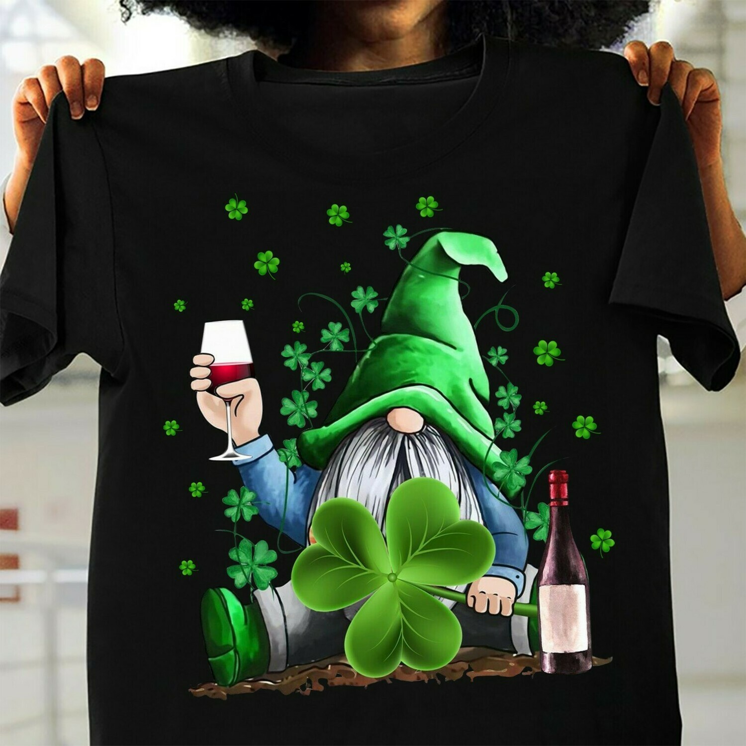 Irish Hippie Gnome happy St. Patrick's Day,Gnome Holding Red Wine mug and Green Shamrocks Four Leaf Clover  T-Shirt Hoodie Sweatshirt Sweater Tee Kids Youth Gifts Jolly Family Gifts