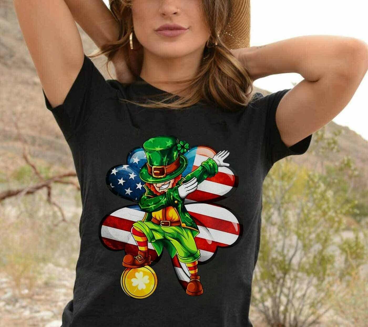 Dabbing Leprechaun Irish Shamrock American Flag St Patricks Day T-shirt T-Shirt Hoodie Sweatshirt Sweater Tee Kids Youth Gifts Jolly Family Gifts