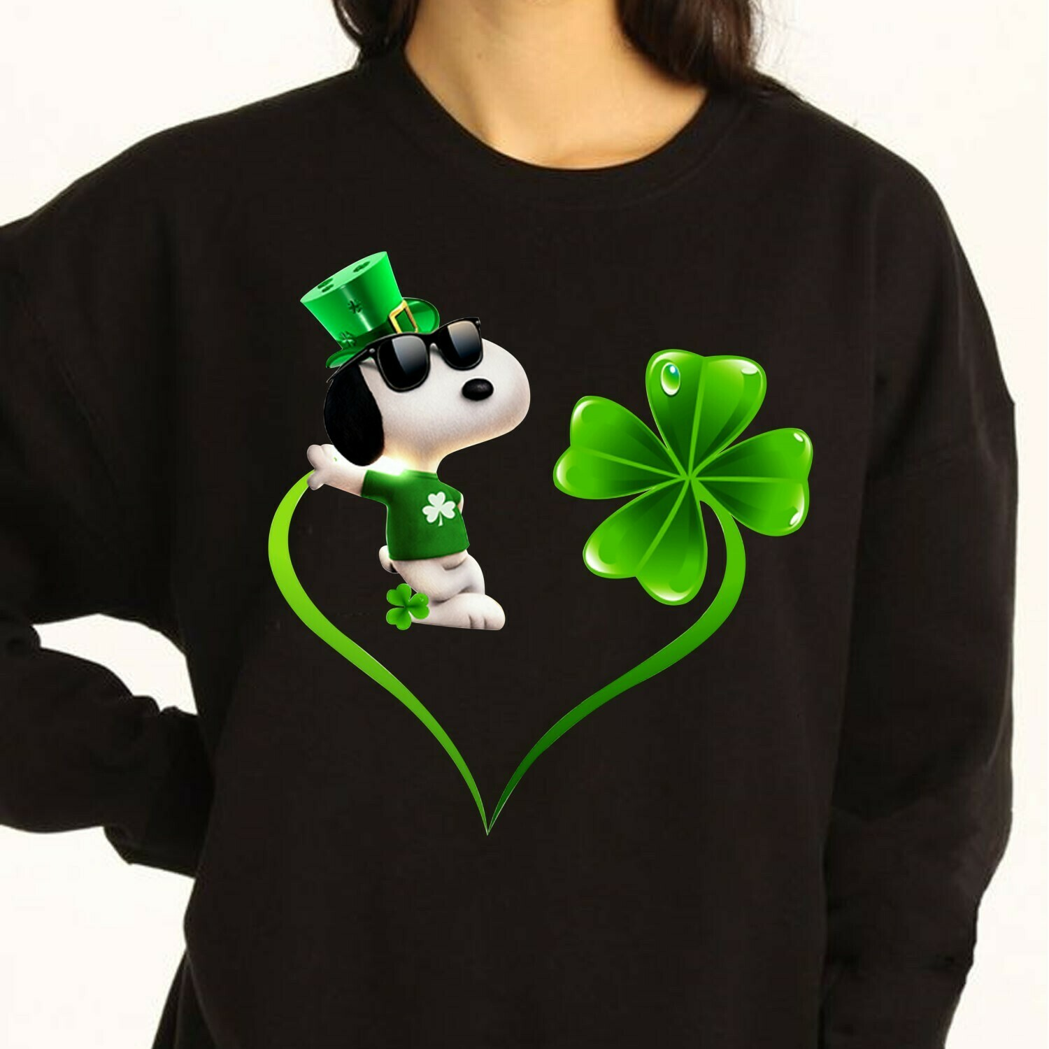 Irish Snoopy Peanuts Leprechauns Shamrock Hippie Peace Sign St Patrick Day Flowery Round  T-Shirt Hoodie Sweatshirt Sweater Tee Kids Youth Gifts Jolly Family Gifts