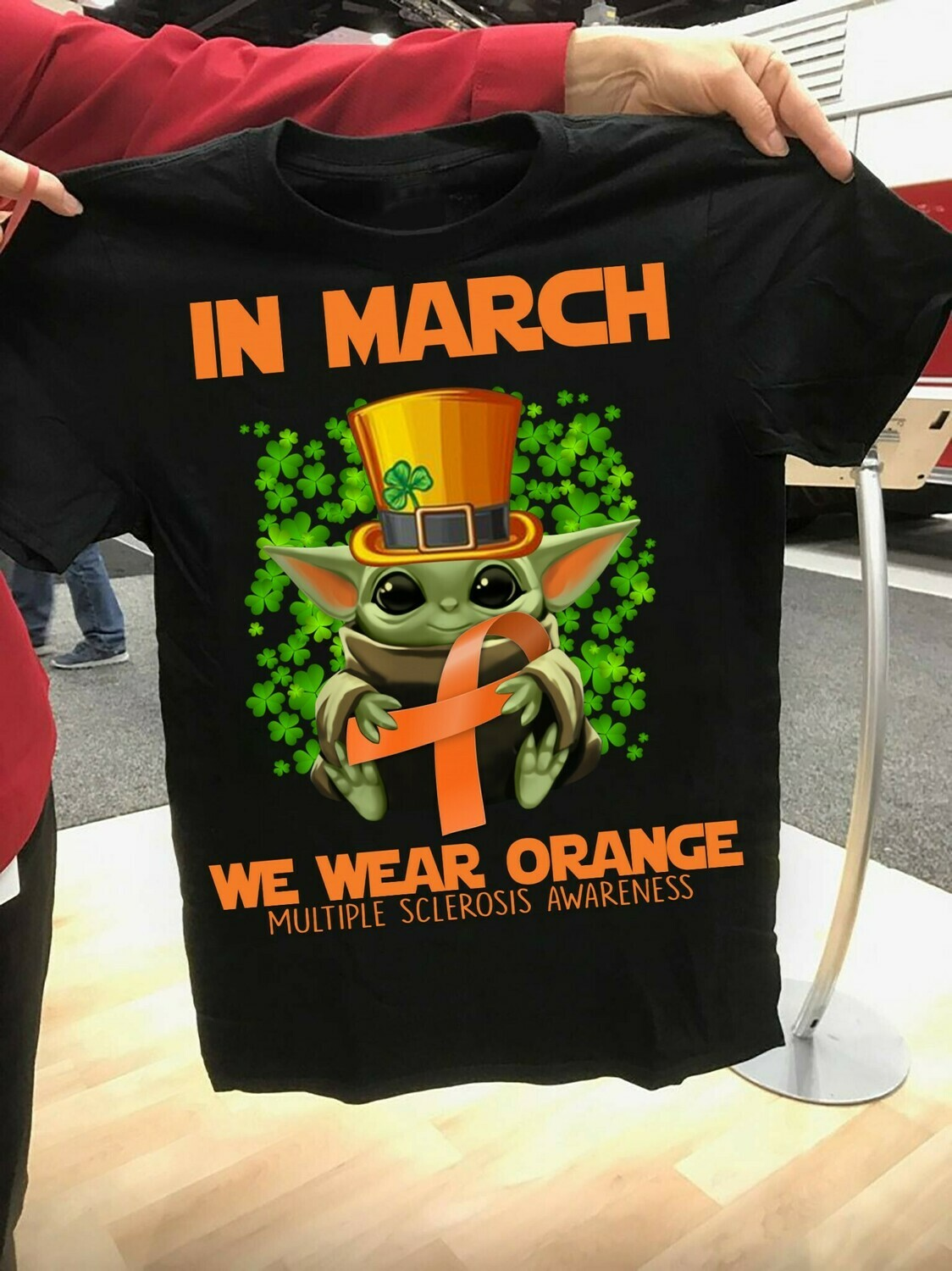 Baby yoda In March We Wear Orange Multiple Sclerosis Awareness St Patrick's Day The Mandalorian Death Watch Star Wars  T-Shirt Hoodie Sweatshirt Sweater Tee Kids Youth Gifts Jolly Family Gifts