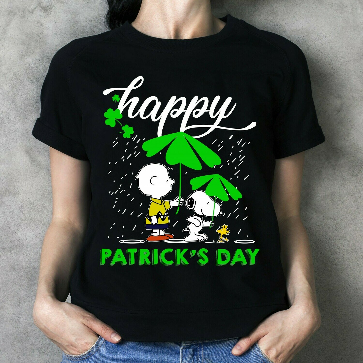 The Peanuts Movie Happy St. Patrick's Day Snoopy,Woodstock,Charlie Brown with Shamrock Four Leaf Clover  T-Shirt Hoodie Sweatshirt Sweater Tee Kids Youth Gifts Jolly Family Gifts