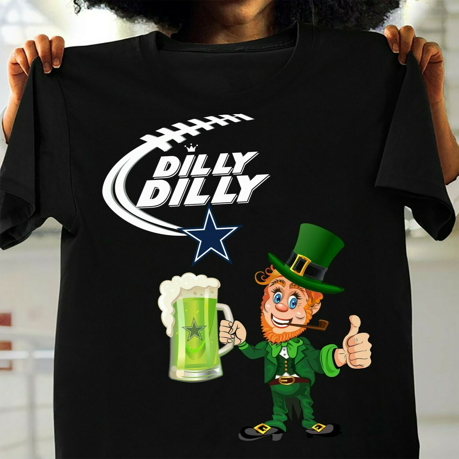 Dilly Dilly Leprechaun Irish hug beer mug Dallas Cowboys Happy St Patrick's Day NFL Football Team Fan  T-Shirt Hoodie Sweatshirt Sweater Tee Kids Youth Gifts Jolly Family Gifts
