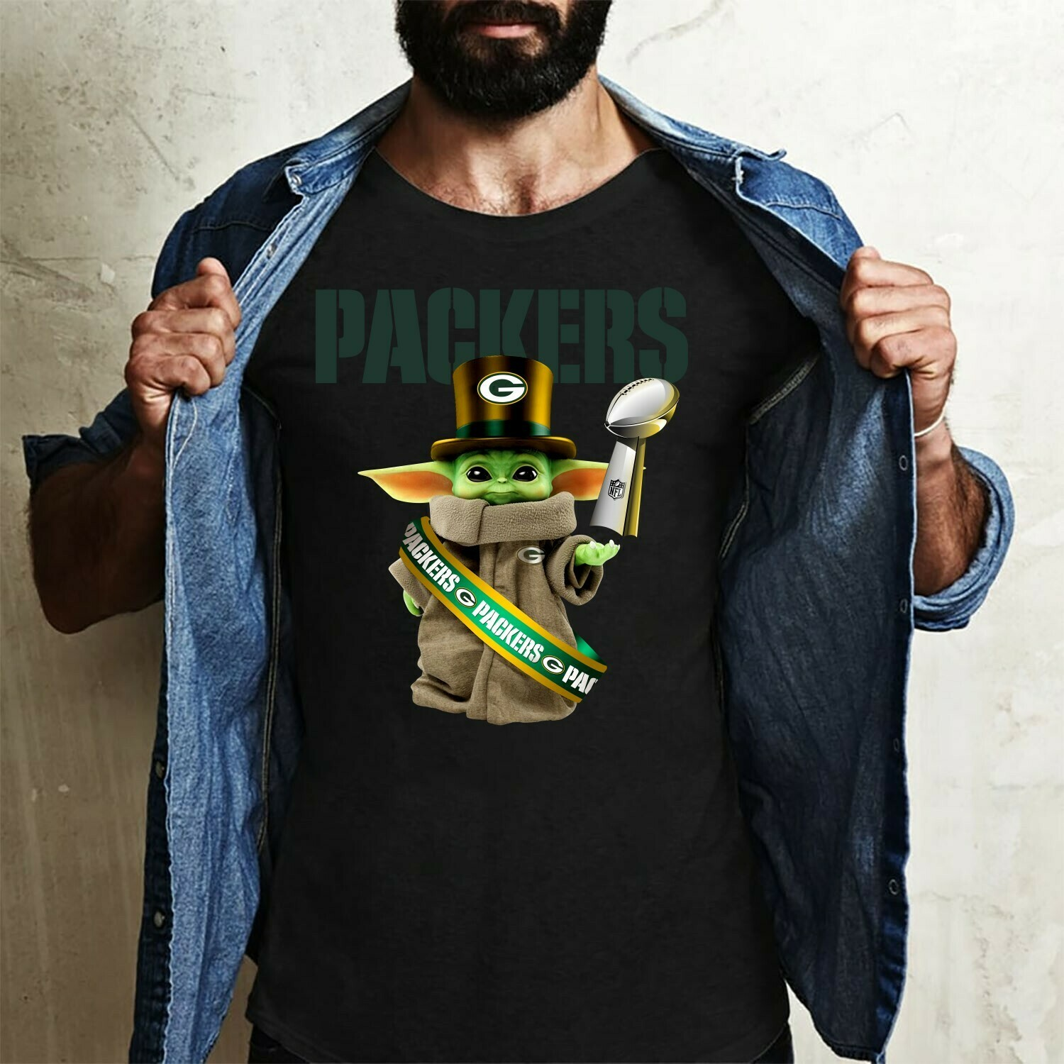 Baby Yoda The Mandalorian with death Star Wars Movie Green Bay Packers Baby Yoda Super Bowl LIV St Patrick's day Gift  T-Shirt Hoodie Sweatshirt Sweater Tee Kids Youth Gifts Jolly Family Gifts