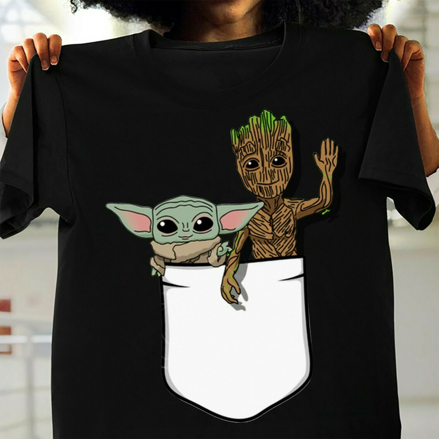 The Mandalorian with death Star Wars Movie The Rise of Skywalker Movie Memes Baby Yoda and Groot Pocket  T-Shirt Hoodie Sweatshirt Sweater Tee Kids Youth Gifts Jolly Family Gifts
