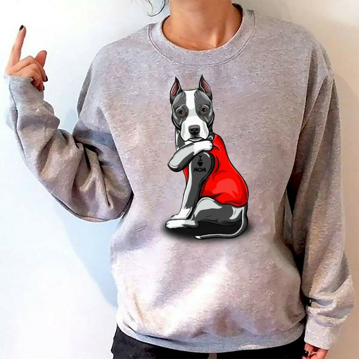 American Staffordshire Terrier Tattoos I Love Mom Funny Shirt T-Shirt Hoodie Sweatshirt Sweater Tee Kids Youth Gifts Jolly Family Gifts
