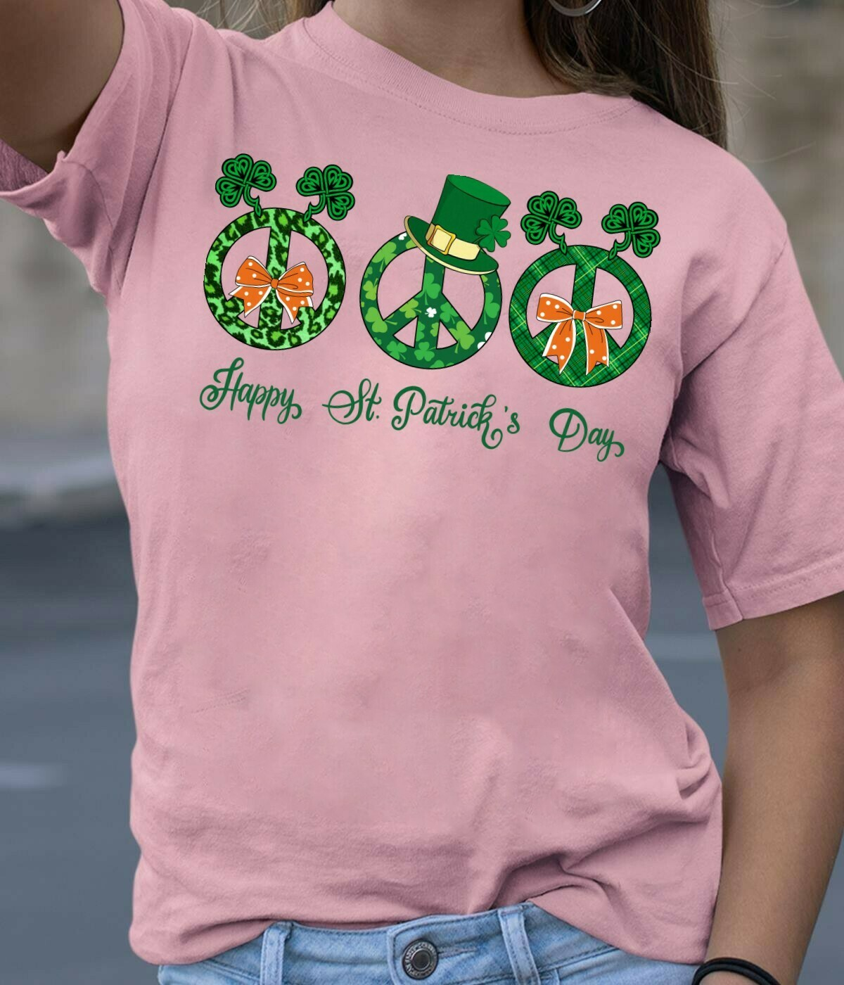 Hippie Peace sign Happy St Patrick's Day,Lucky Shamrock Peace Sign Racerback Tank,Hippie Flowery Round Car Magnet  T-Shirt Hoodie Sweatshirt Sweater Tee Kids Youth Gifts Jolly Family Gifts