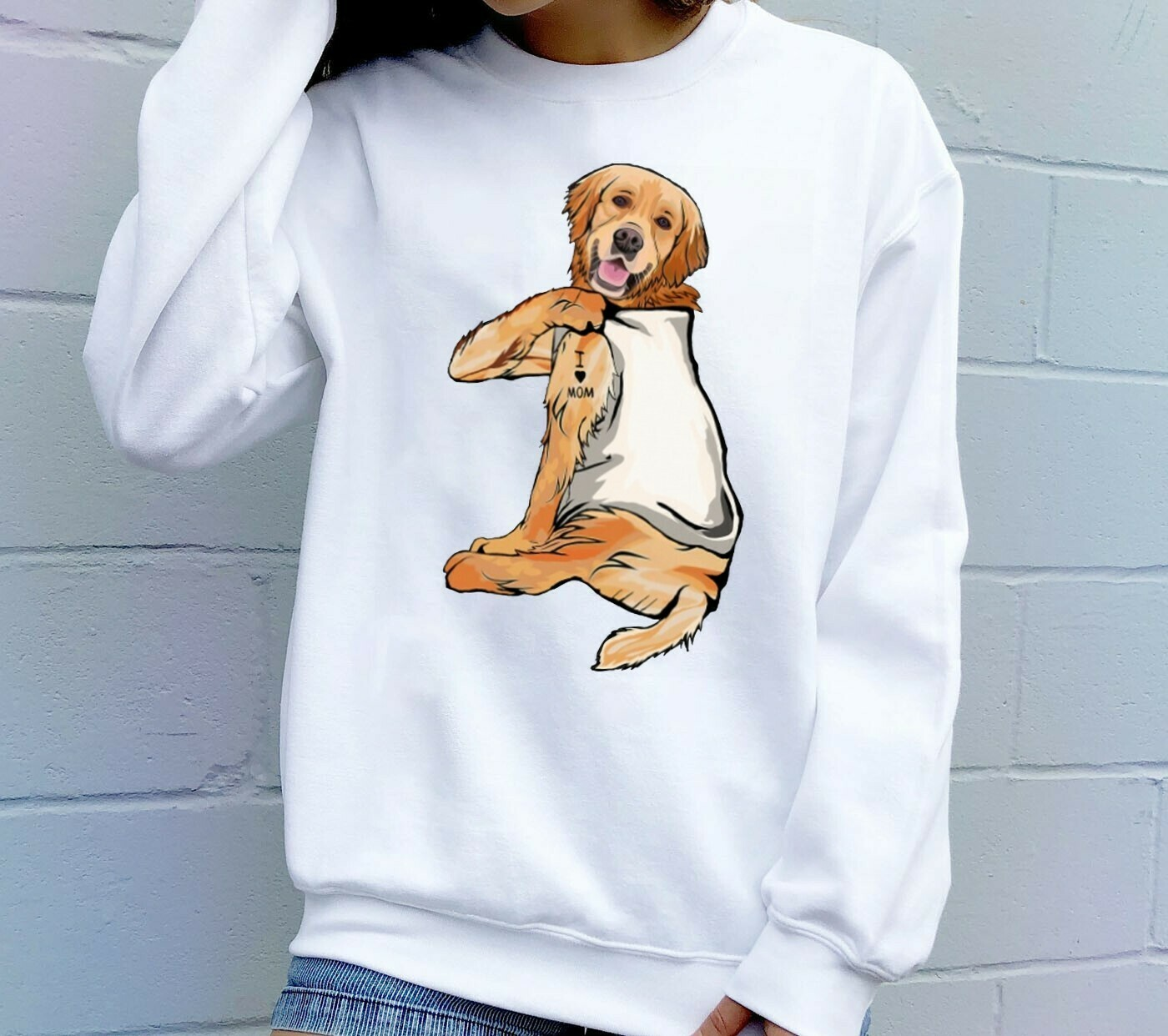 Golden Retriever Dog Tattoos I Love Mom Funny Shirt T-Shirt Hoodie Sweatshirt Sweater Tee Kids Youth Gifts Jolly Family Gifts