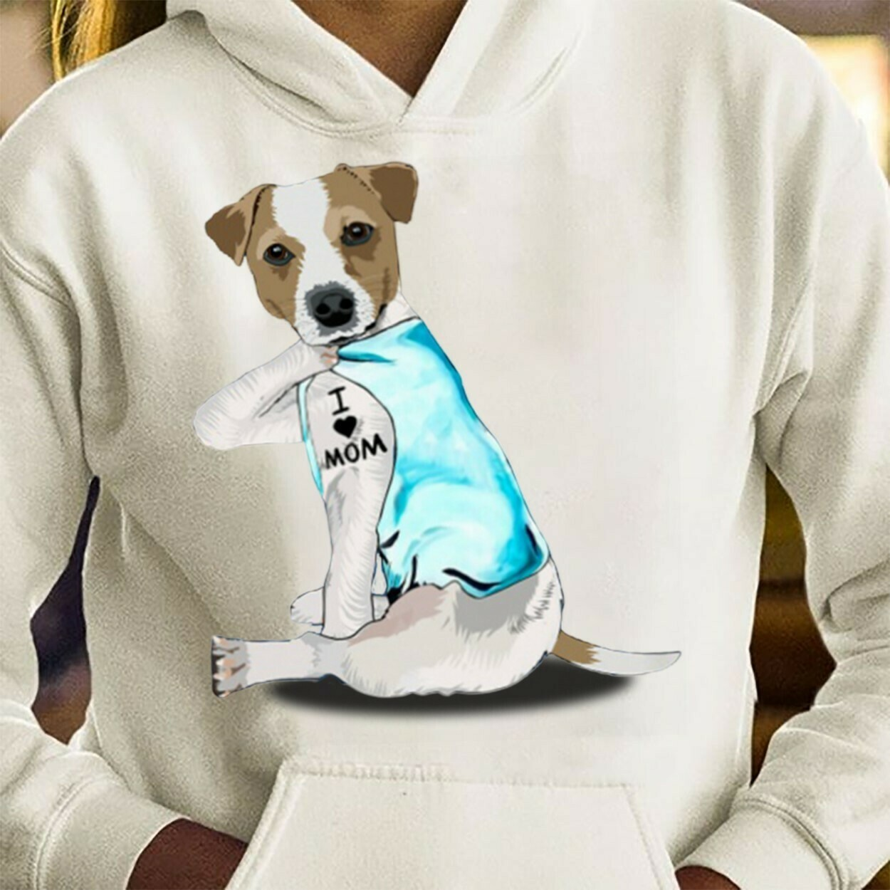 Jack Russel Dog Tattoos I Love Mom Funny Shirt T-Shirt Hoodie Sweatshirt Sweater Tee Kids Youth Gifts Jolly Family Gifts