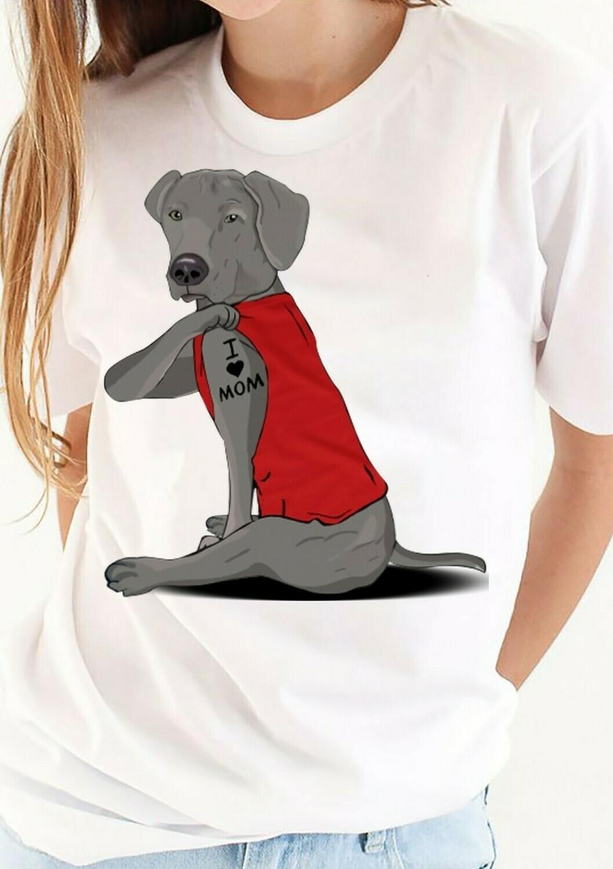 Weimaraner Dog Tattoos I Love Mom Funny Shirt T-Shirt Hoodie Sweatshirt Sweater Tee Kids Youth Gifts Jolly Family Gifts