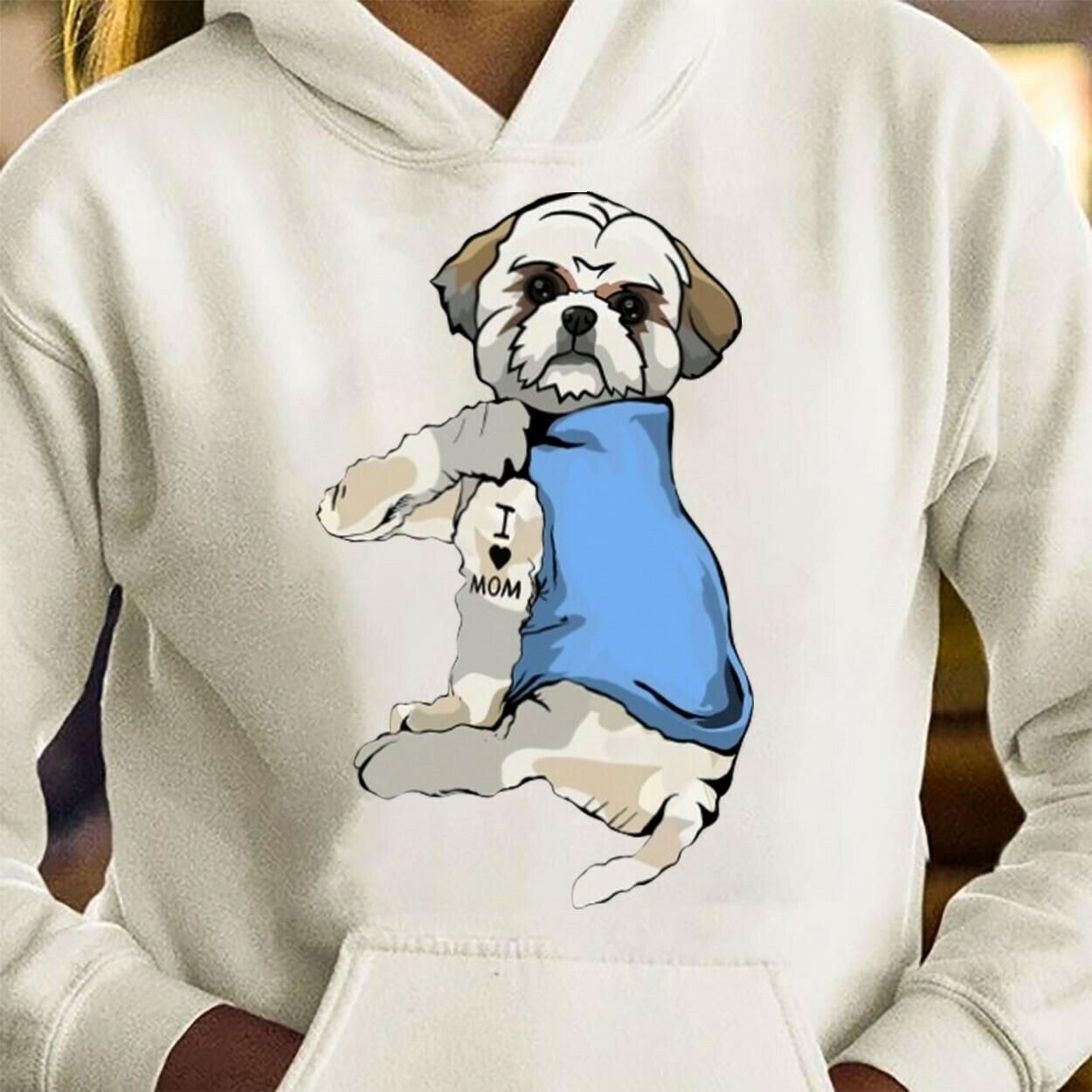 Shih Tzu Dog Tattoos I Love Mom Funny Shirt T-Shirt Hoodie Sweatshirt Sweater Tee Kids Youth Gifts Jolly Family Gifts