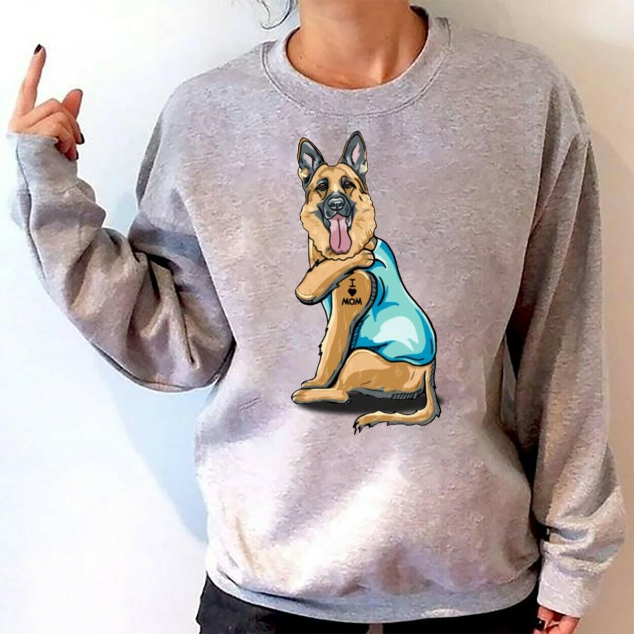 German Shepherd Dog Tattoos I Love Mom Funny Shirt T-Shirt Hoodie Sweatshirt Sweater Tee Kids Youth Gifts Jolly Family Gifts