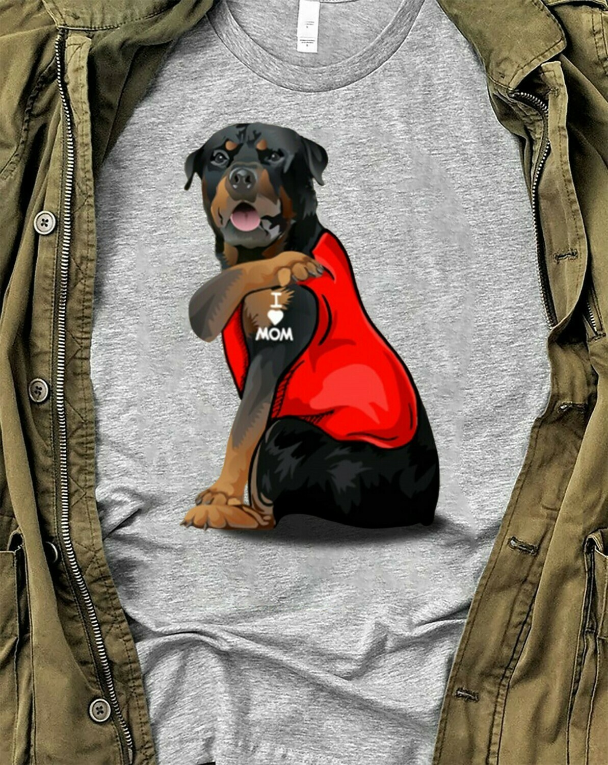 Rottweiler Dog Tattoos I Love Mom Funny Shirt T-Shirt Hoodie Sweatshirt Sweater Tee Kids Youth Gifts Jolly Family Gifts