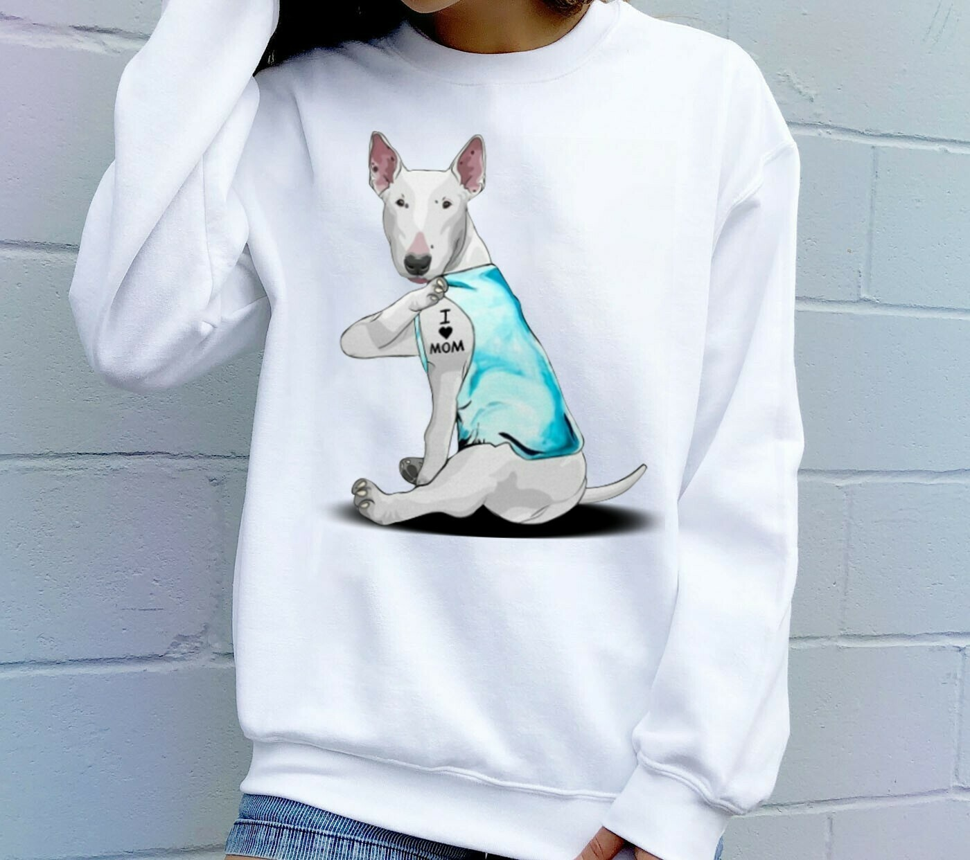 Bull Terrier Dog Tattoos I Love Mom Funny Shirt T-Shirt Hoodie Sweatshirt Sweater Tee Kids Youth Gifts Jolly Family Gifts