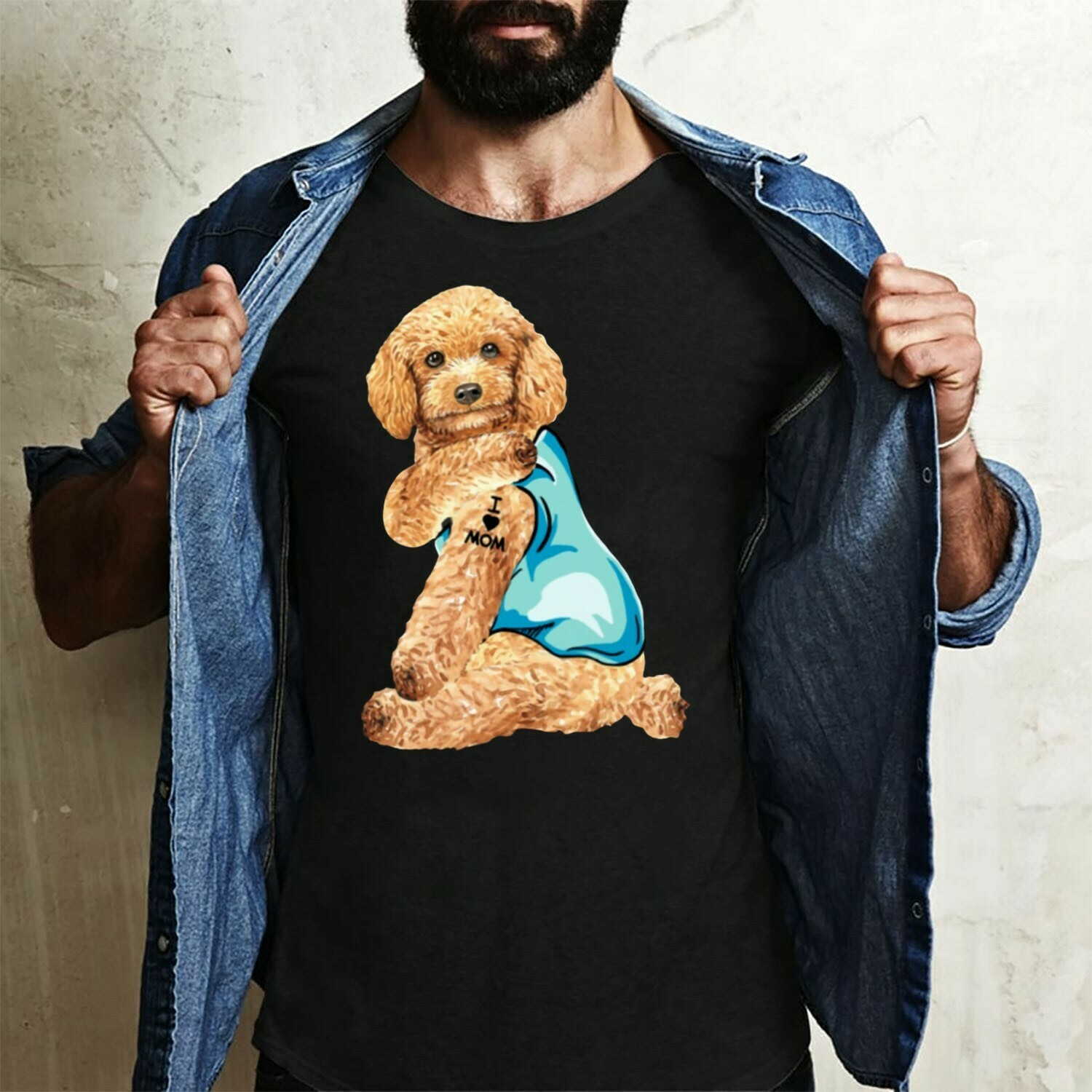 Toy Poodle Dog Tattoos I Love Mom Funny Shirt T-Shirt Hoodie Sweatshirt Sweater Tee Kids Youth Gifts Jolly Family Gifts