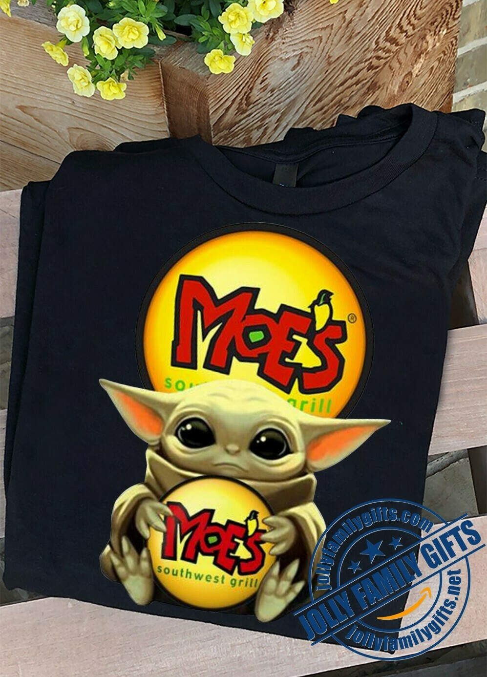 Baby Yoda The Mandalorian with death Star Wars Movie Baby Yoda hug Moe's south west grill Gift  T-Shirt Hoodie Sweatshirt Sweater Tee Kids Youth Gifts Jolly Family Gifts