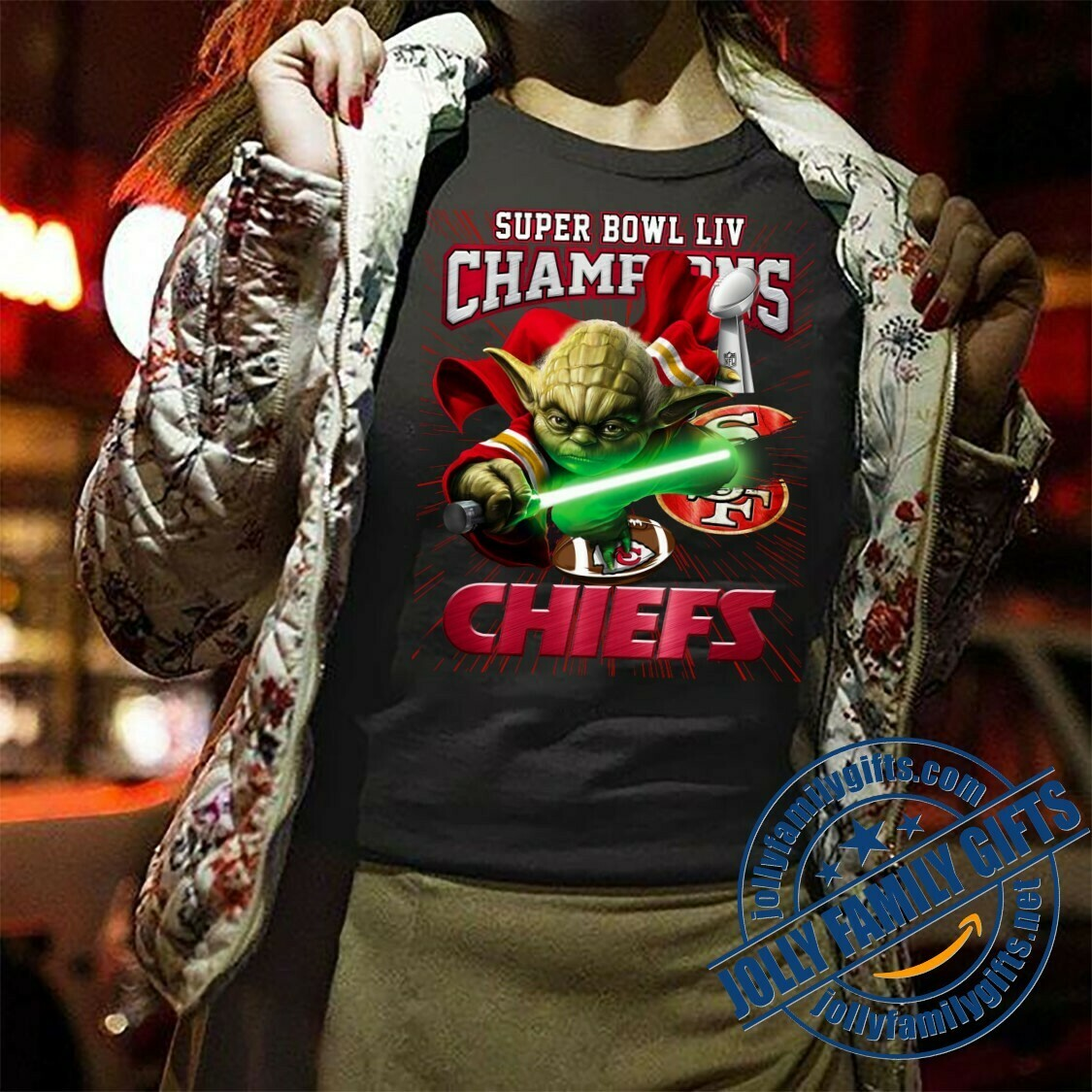 Yoga Master Kansas City Chiefs Super Bowl 54 2020 LIV Champions NFL Football Team Star Wars The Mandalorian The Child Fan Gift  T-Shirt Hoodie Sweatshirt Sweater Tee Kids Youth Gifts Jolly Family