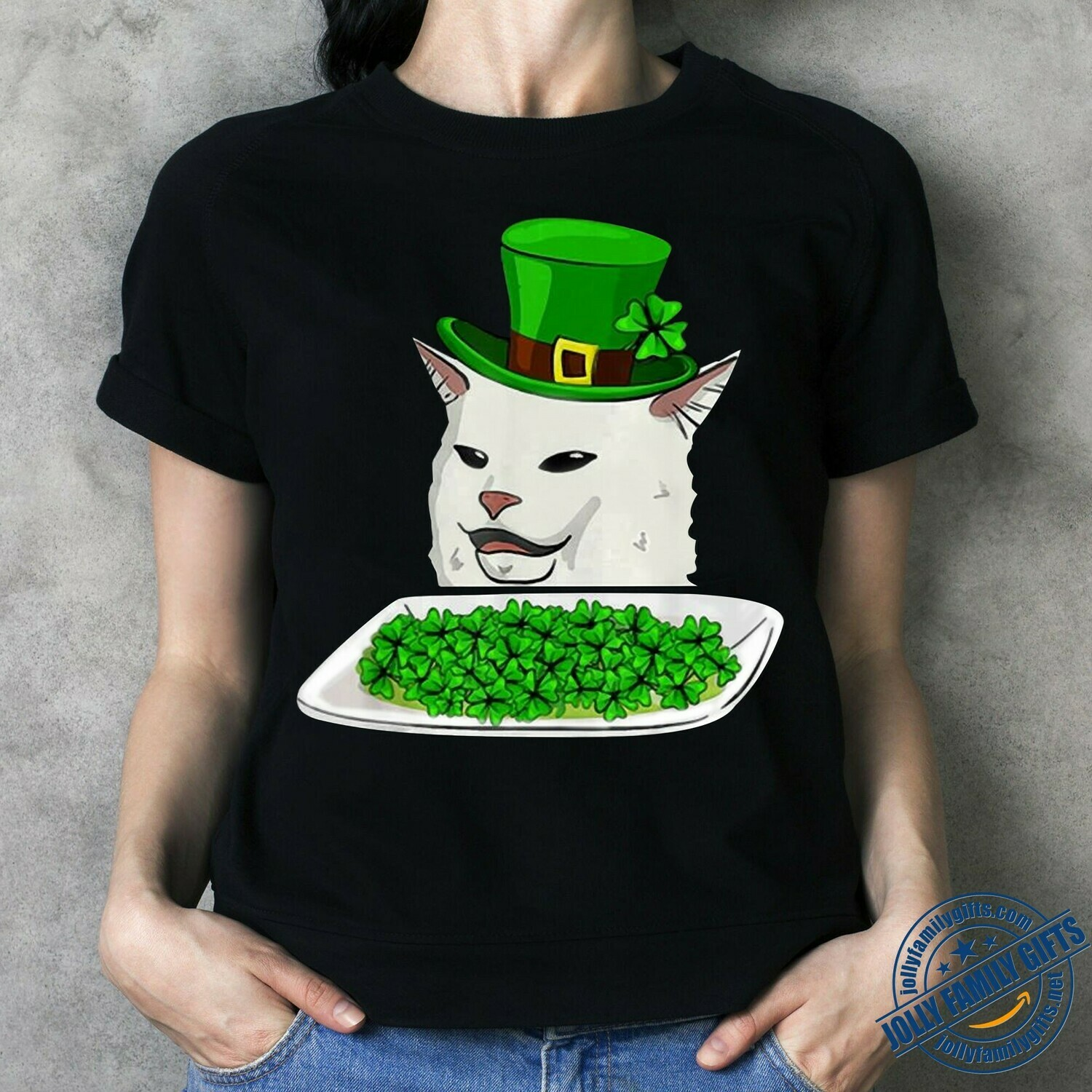 Saint Patricks confused cat meme St Patrick's Day smudge,Cat Hat with Shamrock Four Leaf Clover Gift  T-Shirt Hoodie Sweatshirt Sweater Tee Kids Youth Gifts Jolly Family Gifts