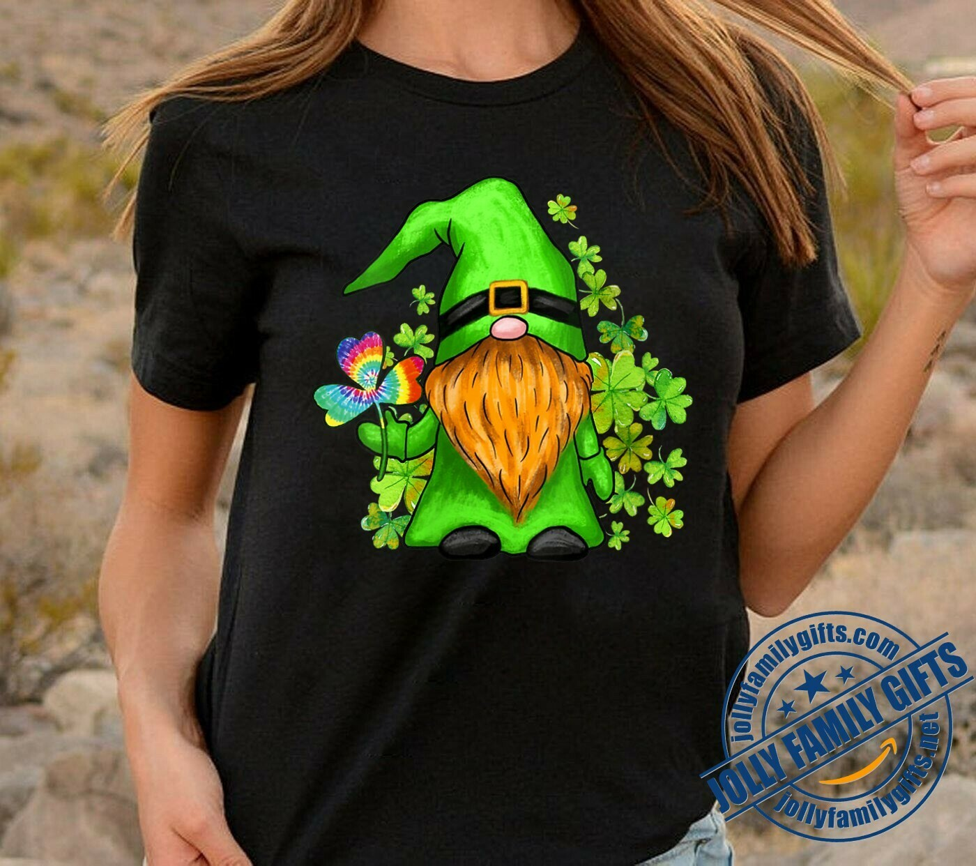 Irish Hippie Gnome lucky Patrick's Day,Gnome Holding Green Shamrocks Four Leaf Clover  T-Shirt Hoodie Sweatshirt Sweater Tee Kids Youth Gifts Jolly Family Gifts