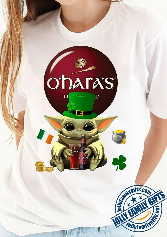 Baby Yoda The Mandalorian with death Star Wars Movie Yoda Irish hug O'Hara's Red Beer St. Patrick's Day Gift T-shirt T-Shirt Hoodie Sweatshirt Sweater Tee Kids Youth Gifts Jolly Family Gifts