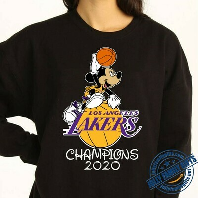 Los Angeles Lakers NBA Champions 2020 Disney Mickey Mouse  T-Shirt Hoodie Sweatshirt Sweater Tee Kids Youth Gifts Jolly Family Gifts