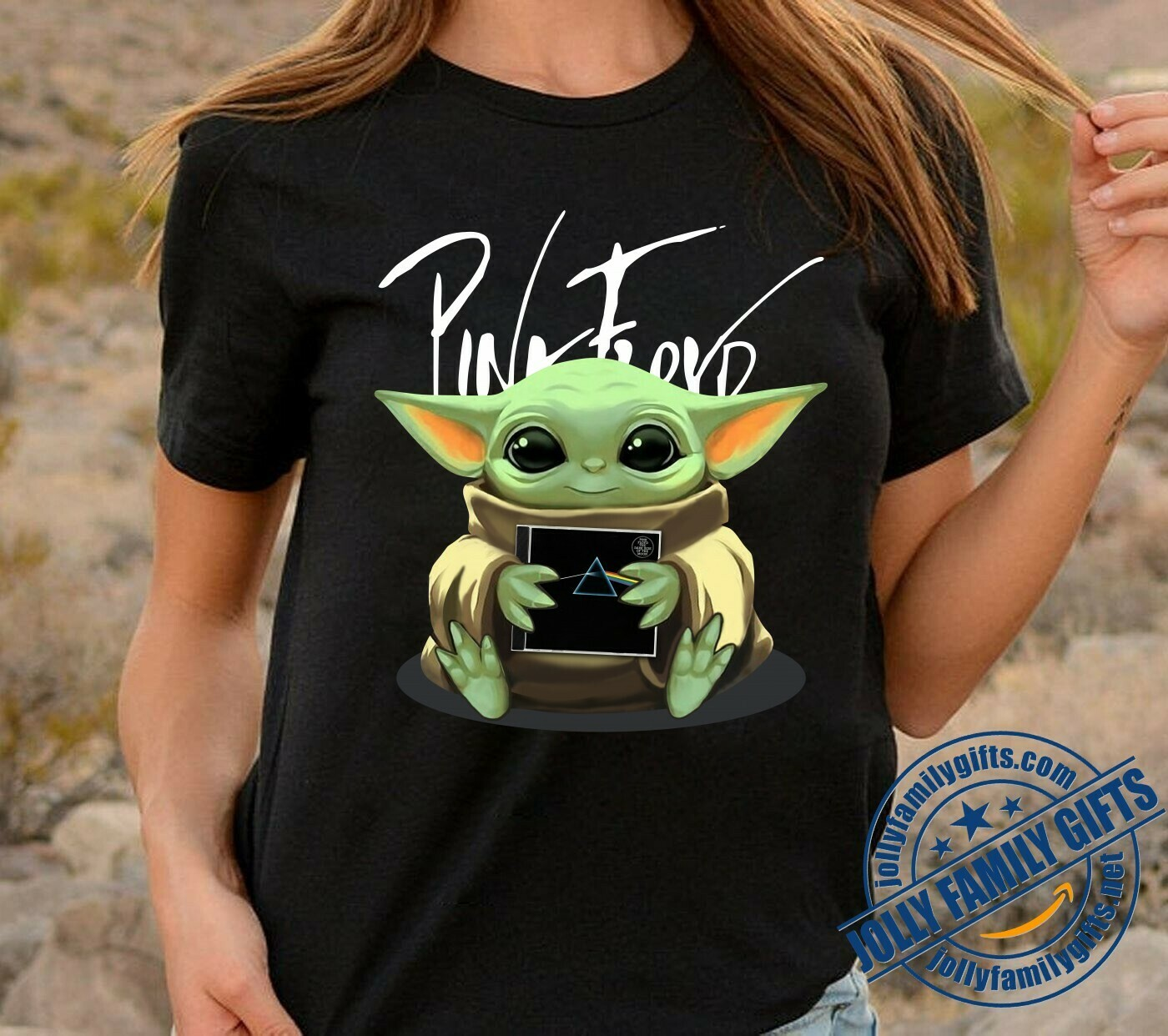 Baby Yoda The Mandalorian with death Star Wars Movie Baby Yoda Hug Pink Floyd love psychedelic Rock  T-Shirt Hoodie Sweatshirt Sweater Tee Kids Youth Gifts Jolly Family Gifts