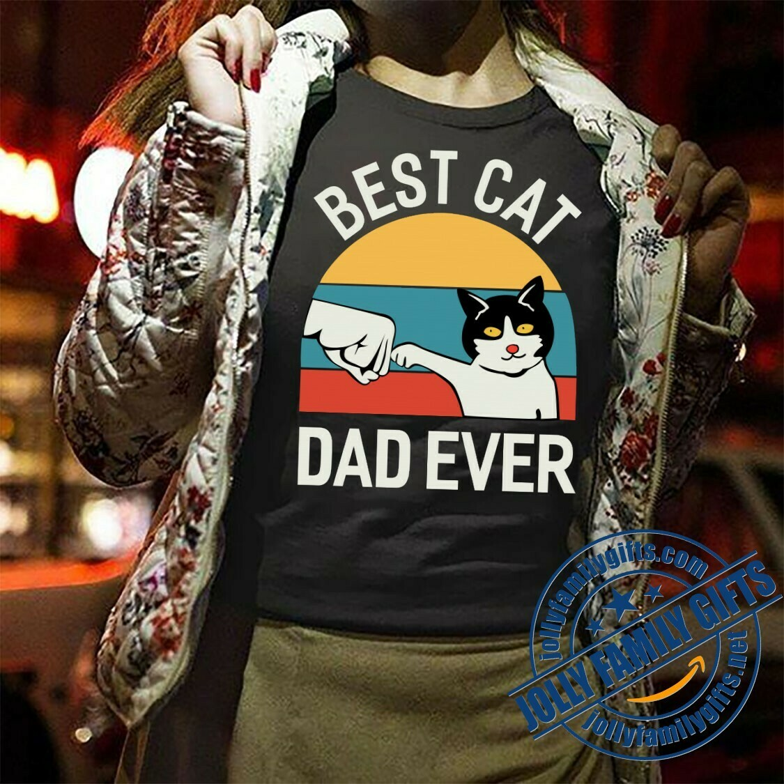 Vintage Best Cat Dad Ever Bump Fit PaPaw Fist Bump Gift For grandpa Papa Men,Daddy Papaw,Hhusband,Father's Day T-Shirt Hoodie Sweatshirt Sweater Tee Kids Youth Gifts Jolly Family Gifts