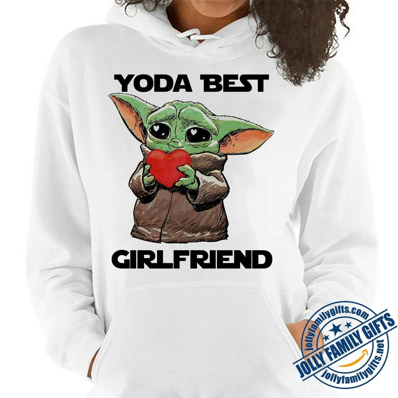 Baby Yoda The Mandalorian with death Star Wars Movie Yoda Best Girlfriend Valentine Hug Heart Valentines Gift  Unisex T-Shirt Hoodie Sweatshirt Sweater for Ladies Women Men Kids Youth Gifts Tee Jolly