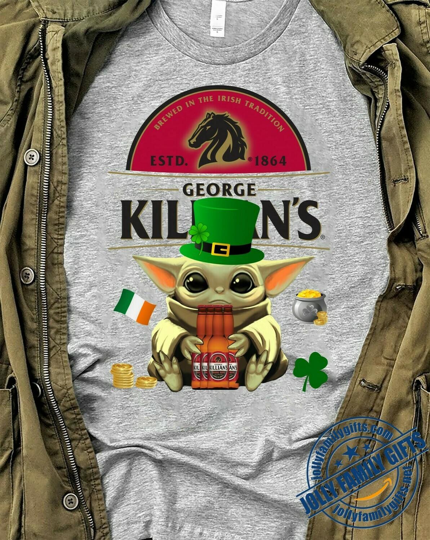 Baby Yoda The Mandalorian with death Star Wars Movie Baby Yoda Hug George Killian's Irish Red Beer St. Patrick's Day T-shirt Unisex T-Shirt Hoodie Sweatshirt Sweater for Ladies Women Men Kids Youth