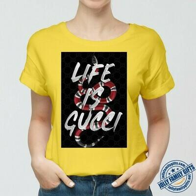 Life Is Gucci Classic Logo Red Snake Supreme LV T-shirt Louis Vuitton Fashion LV Fashion for Women Men Vintage  Unisex T-Shirt Hoodie Sweatshirt Sweater for Ladies Women Men Kids Youth Gifts Tee Jolly