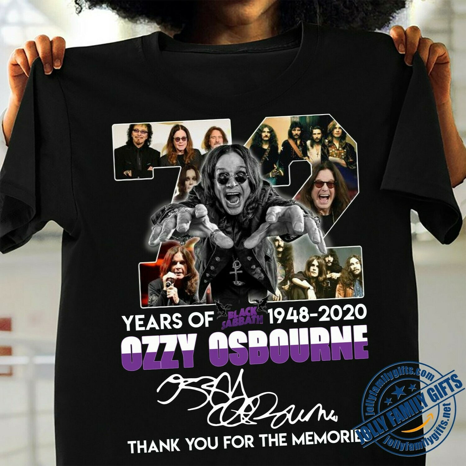 72 years of Black Sabbath 1948 2020 Ozzy Osbourne thank you for the memories signature for men women Unisex T-Shirt Hoodie Sweatshirt Sweater Plus Size for Ladies Women Men Kids Youth Gifts Tee Jolly