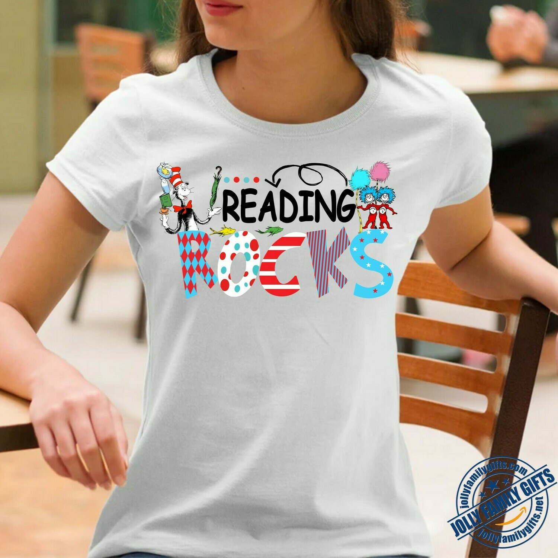 Reading Rocks Greatest Dr. Seuss Quotes Sayings With Best Images T-shirt for men Women Love Readers Teacher Dr Seuss birthday Unisex T-Shirt Hoodie Sweatshirt Sweater Plus Size for Ladies Women Men