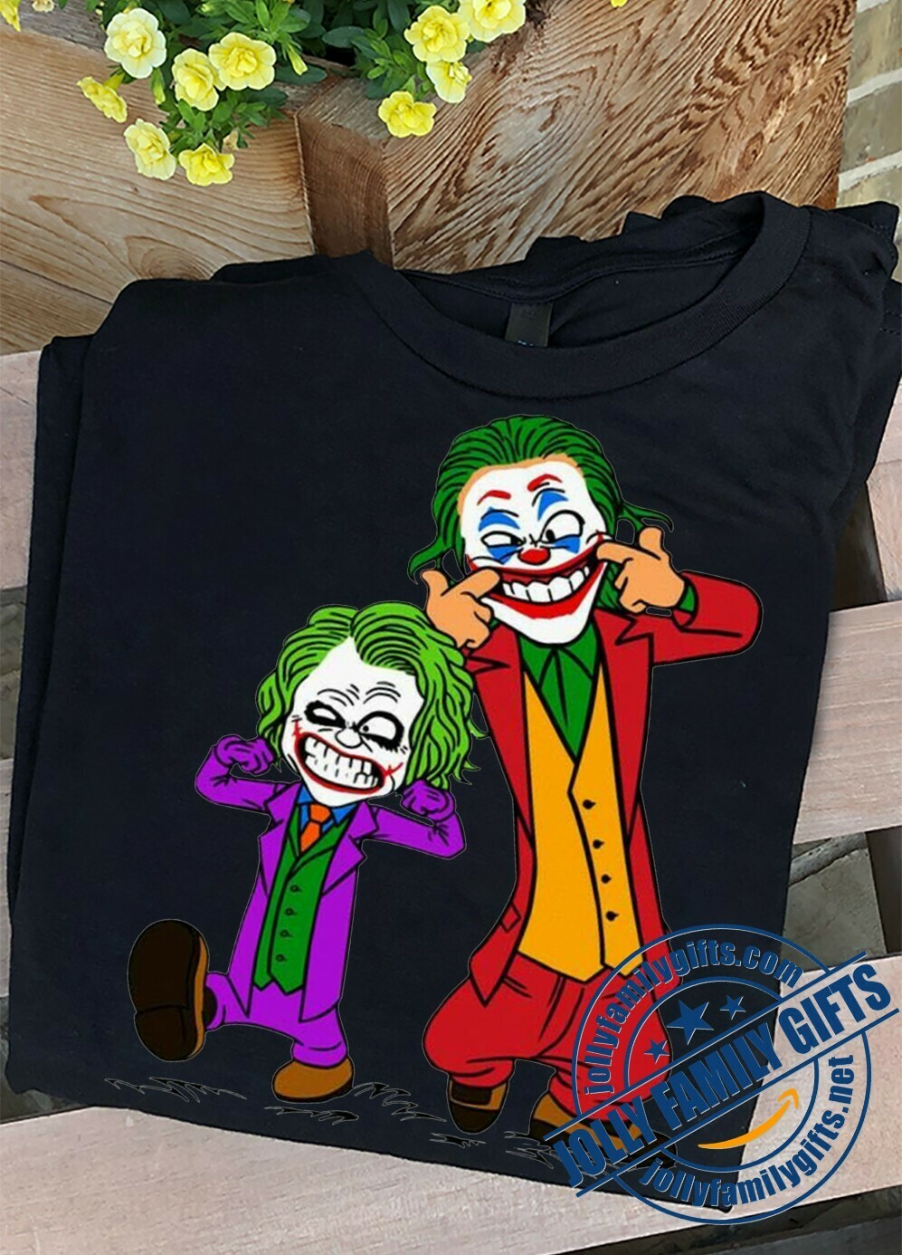 Double Joker Calvin and Hobbes Put On A Happy Face Joaquin Phoenix Heath Ledger Here Comes Your Favorite Villain Halloween Movie T-shirt Unisex T-Shirt Hoodie Sweatshirt Sweater Plus Size for Ladies