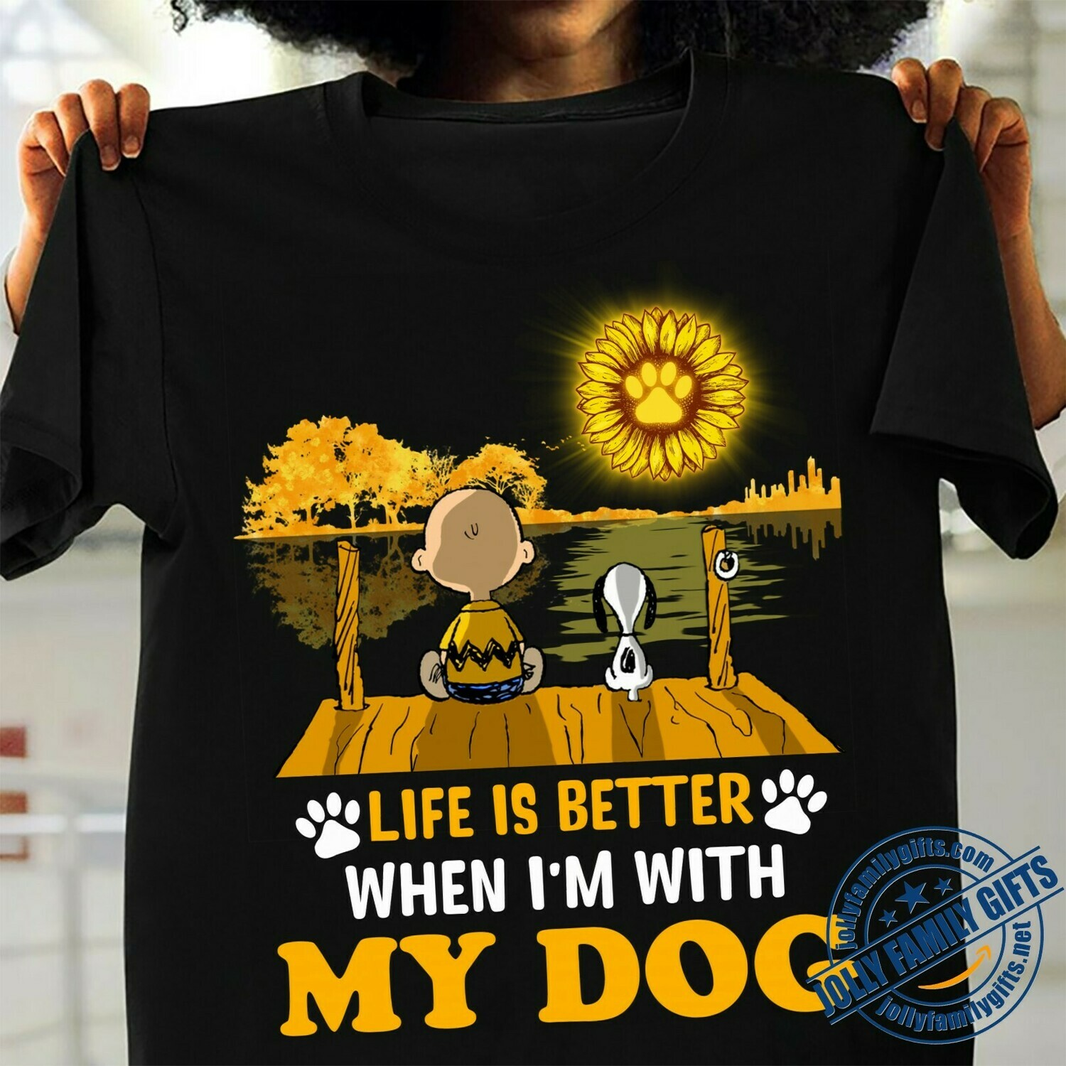 Life is Better when I'm with Dog Snoopy Charlie Brown Sunflower Guitar Lake Shadow The Peanuts Movie fan T-shirt Unisex T-Shirt Hoodie Sweatshirt Sweater Plus Size for Ladies Women Men Kids Youth