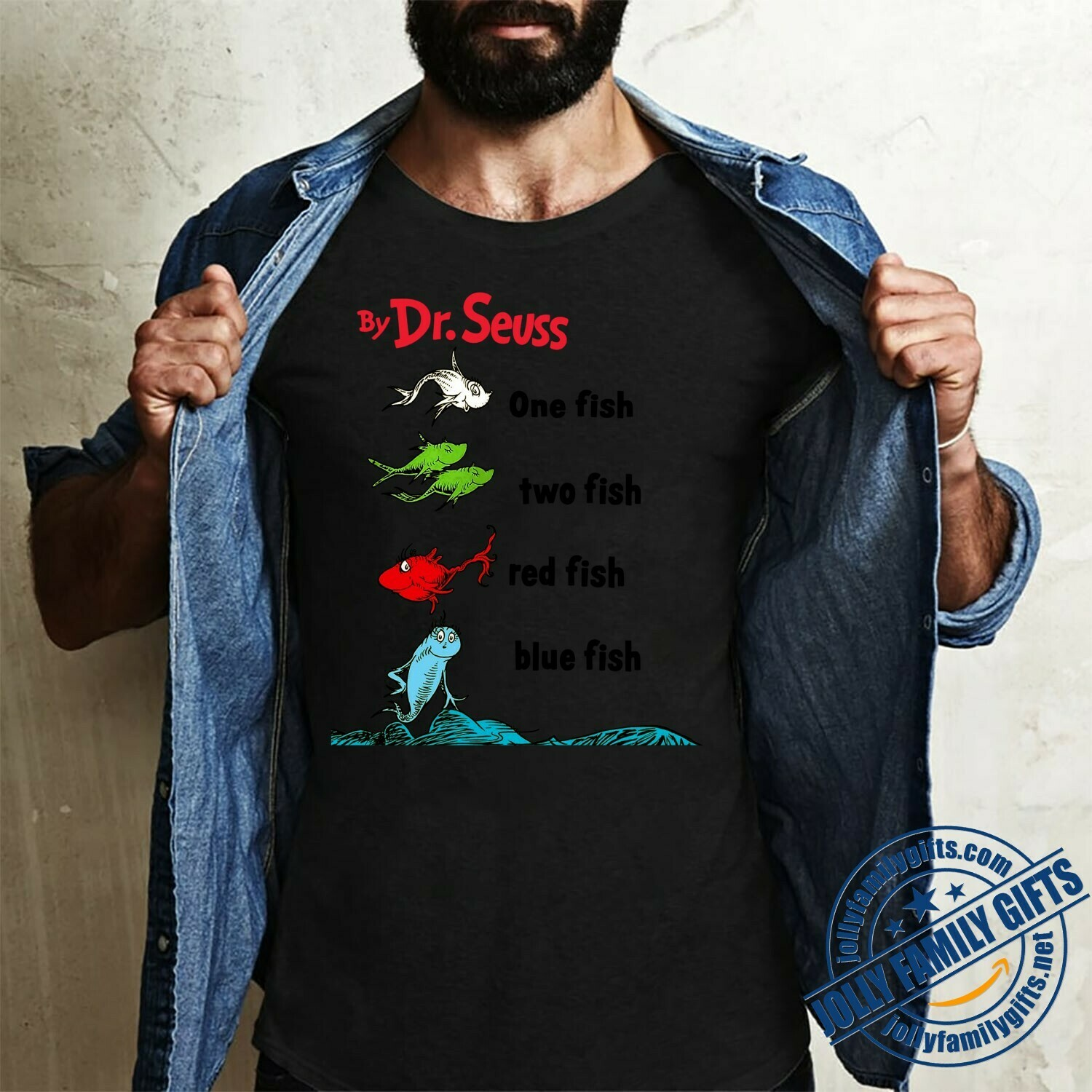 By Dr. Seuss One Fish Two Fish Red Fish Blue Fish Book Cover Image T-shirt for beginning readers s Teacher Unisex T-Shirt Hoodie Sweatshirt Sweater Plus Size for Ladies Women Men Kids Youth Gifts Tee