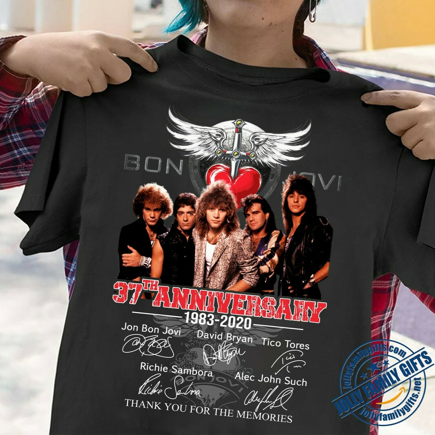 Bon Jovi 37th Anniversary 1983 2020 Thank You For The Memories signatures for Men Women Unisex T-Shirt Hoodie Sweatshirt Sweater Plus Size for Ladies Women Men Kids Youth Gifts Tee Jolly Family Gifts