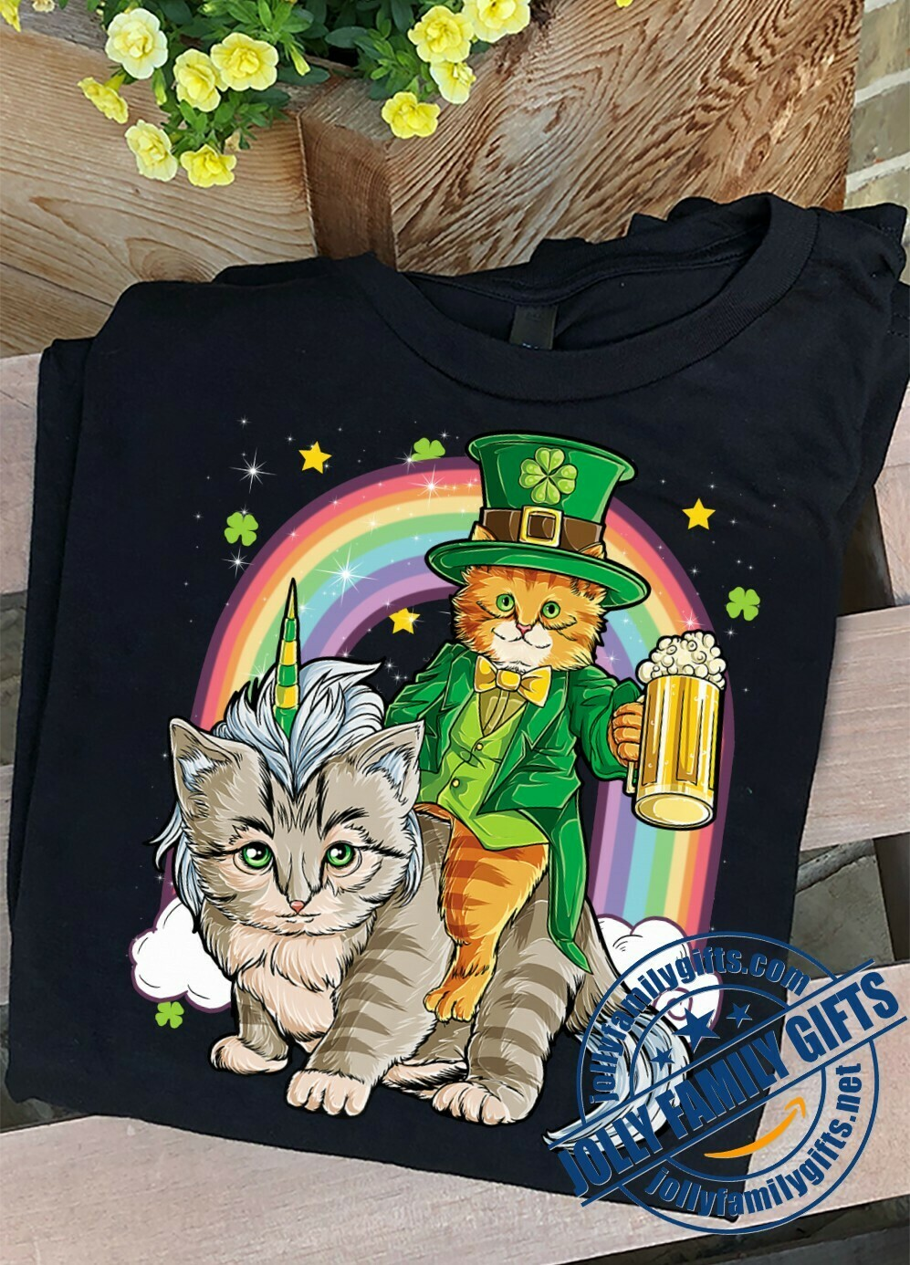 Cat Leprechaun drinking Beer Riding Caticorn Unicorn St Patricks Day Rainbow Gift for Cat Lovers Dad Mom Unisex T-Shirt Hoodie Sweatshirt Sweater Plus Size for Ladies Women Men Kids Youth Gifts Tee