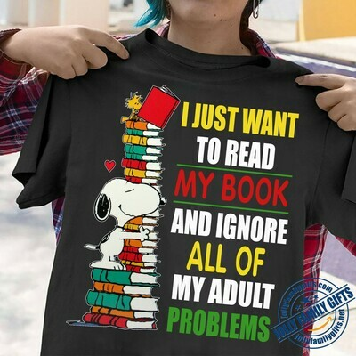 Snoopy I Just Want To Read My Book And Ignore All Of My Adult Problems Peanuts Bookish Retro Style Graphic  Unisex T-Shirt Hoodie Sweatshirt Sweater Plus Size for Ladies Women Men Kids Youth Gifts Tee