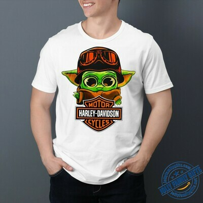 Baby Yoda Harley-Davidson Motor Company The Mandalorian with death Star Wars Movie s Unisex T-Shirt Hoodie Sweatshirt Sweater Plus Size for Ladies Women Men Kids Youth Gifts Tee Jolly Family Gifts